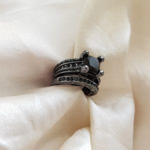 Black silver coated ring set